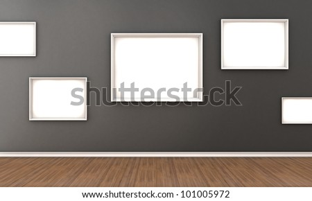 Illustration of a room with a white frames for a pictures - stock photo