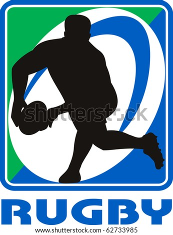 "illustration of a Rugby player passing ball facing front in silhouette with ball in background with words ""rugby"" - stock photo"