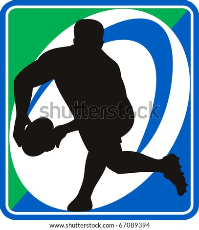 illustration of a rugby player passing ball with ball in background - stock photo