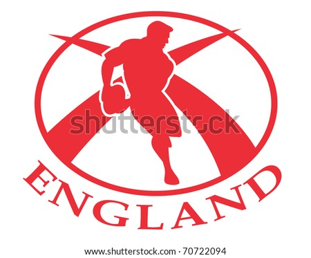 illustration of a rugby player passing the ball side view set inside oval or ball with English flag and words England - stock photo