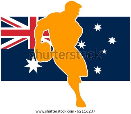 Illustration of a rugby player running passing ball with flag of flag of australia - stock photo