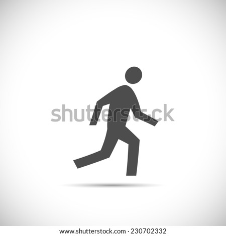 Illustration of a running figure isolated on a white background. - stock photo