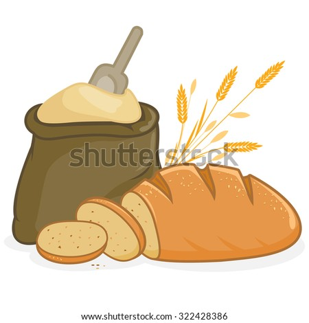 Illustration of a sack of flour, a loaf of bread and barley. - stock photo
