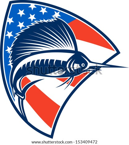 Illustration of a sailfish fish jumping with American stars and stripes flag in background set inside shield done in retro style.