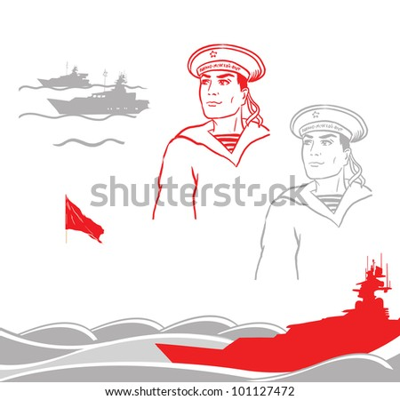Illustration of a sailor near silhouette of a red ship - stock photo