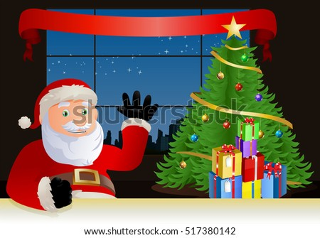 illustration of a santa claus seems happy say hi in-front christmas tree background