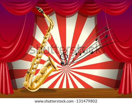 Illustration of a saxophone and the musical notes at the stage - stock photo