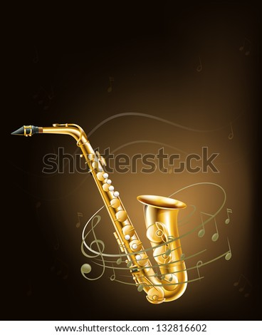 Illustration of a saxophone with musical notes - stock photo