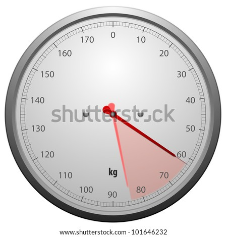 illustration of a scale for a weighing machine with a red marked range - stock photo