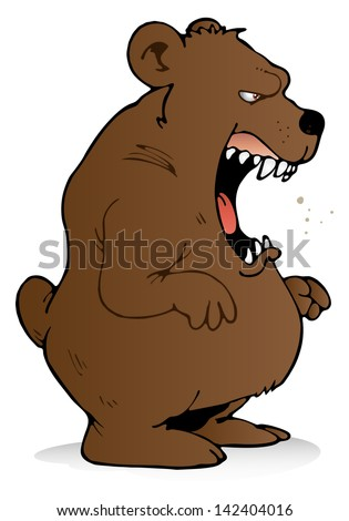 illustration of a scary bear roaring on isolated white background - stock photo