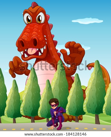 Illustration of a scary giant crocodile and a superhero - stock photo