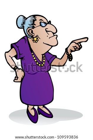 illustration of a scary grandmother wearing glasses point her finger on isolated white background - stock photo