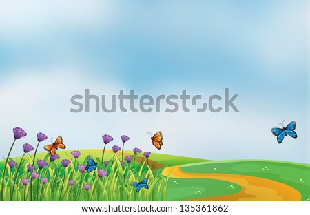 Illustration of a scenery at the top of the hill - stock photo