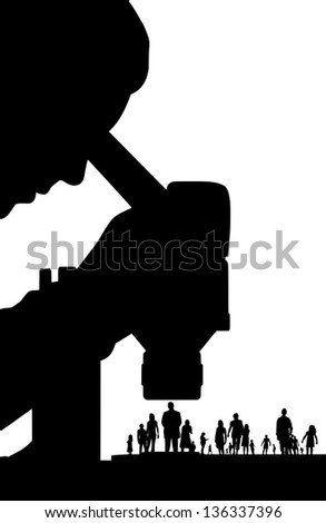 Illustration of a scientist studying people - stock photo