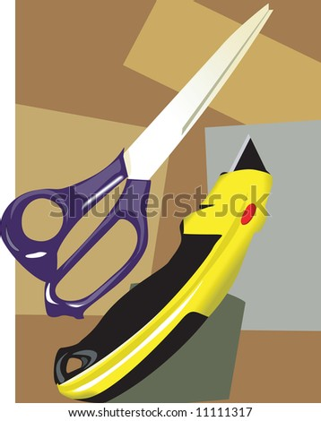 Illustration of a scissor with paper cutter in pattern background