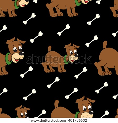 Illustration of a seamless pattern of cute puppy with bone on black background