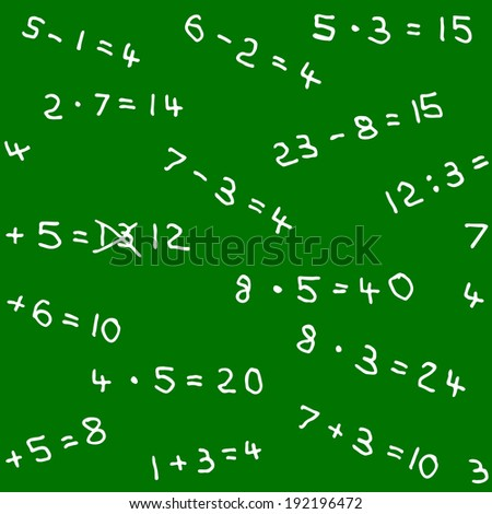illustration of a seamless pattern of math homework on a blackboard