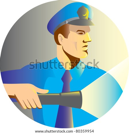 illustration of a Security guard policeman officer pointing a torch flashlight viewed from side set inside circle done in retro style - stock photo