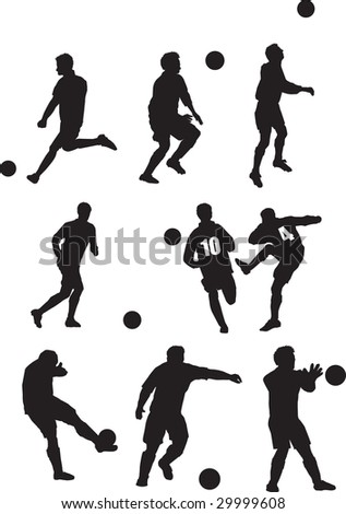 Illustration of  a set of footballer silhouettes