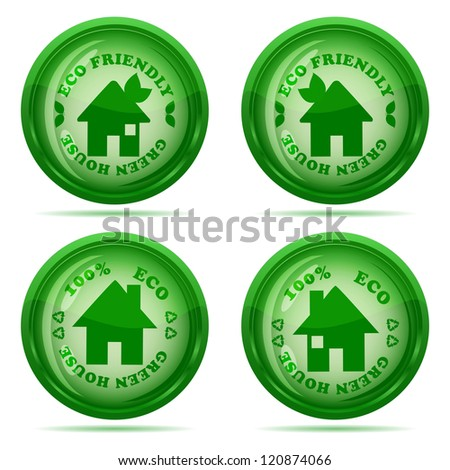 illustration of a set of glossy green house icons isolated on white background - stock photo