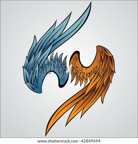 Illustration of a set of wings. - stock photo