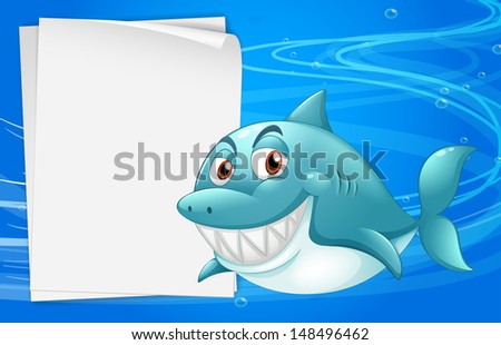 Illustration of a shark with an empty bondpaper under the sea  - stock photo