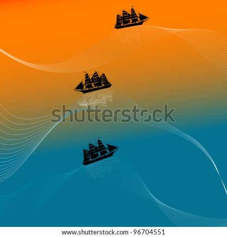 Illustration of a ship on wavy waters at dusk - stock photo