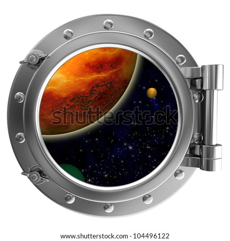 Illustration of a ship porthole with a view to space - stock photo