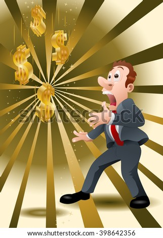 illustration of a shocking businessman watching golden dollar falling from sky - stock photo
