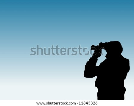 Illustration of a silhouette man looking through binoculars