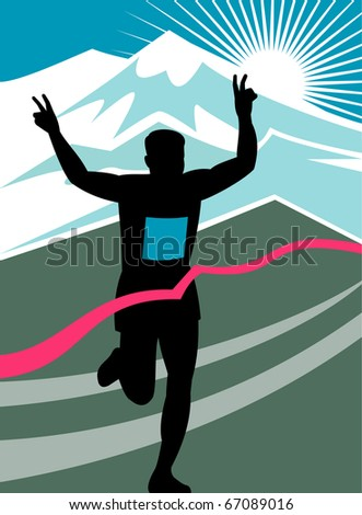 illustration of a silhouette of Marathon runner flashing victory hand sign done in retro style with mountains and sunburst and finish line ribbon tape - stock photo