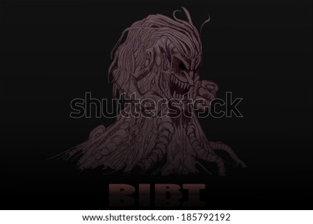 illustration of a sinister looking monster of mud - stock photo