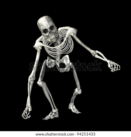 Illustration of a skeleton isolated on a black background - stock photo