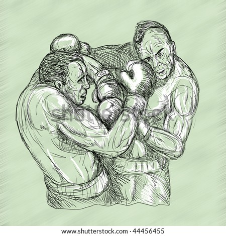 Illustration of a Sketch Of Two Male Boxers Throwing Punches - stock photo