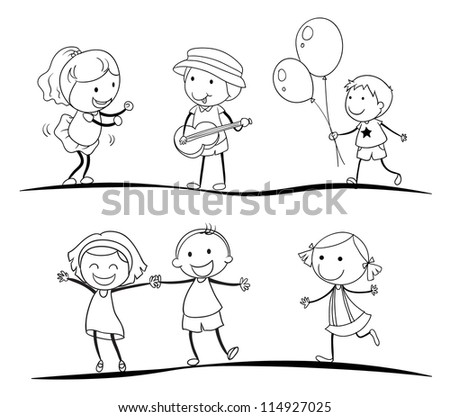 illustration of a sketches of kids on a white background - Cartoon Sketches For Kids