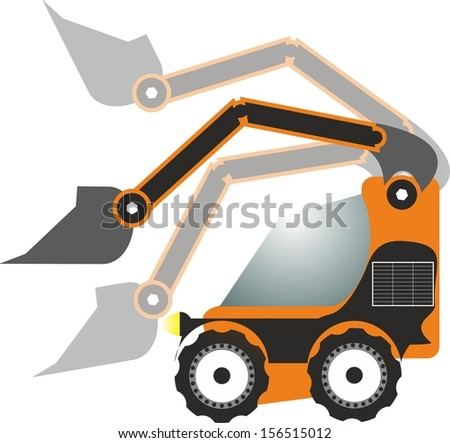 Illustration of a skid steer loader with a shovel in three different positions. - stock photo