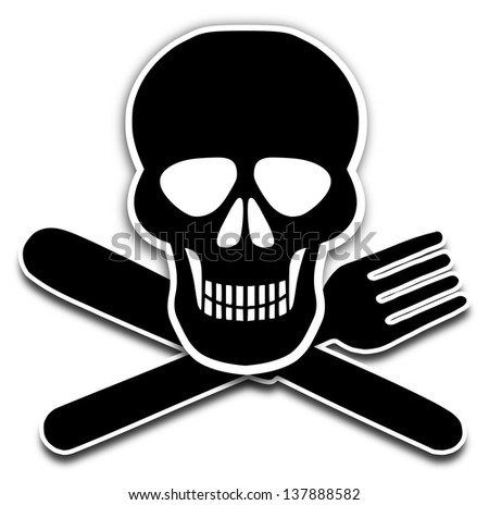 Illustration of a skull, knife and fork - stock photo