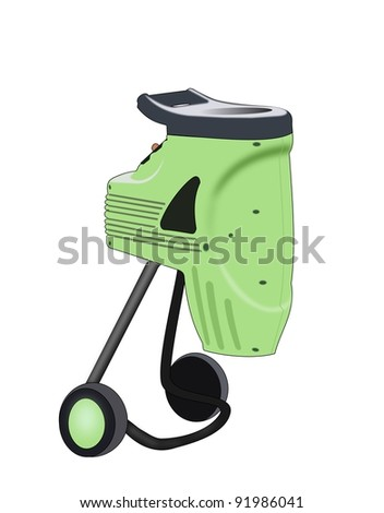 Illustration of a small green  compost grinder on  white  background.