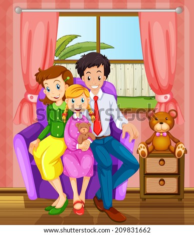 Illustration of a smiling family inside the house