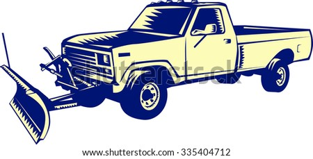 Illustration of a snow plow truck set on isolated white background done in retro woodcut style.  - stock photo