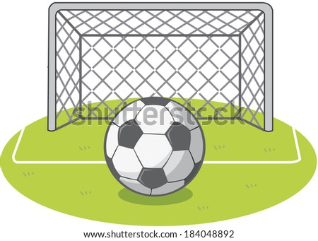 Illustration of a soccer ball and the goal net