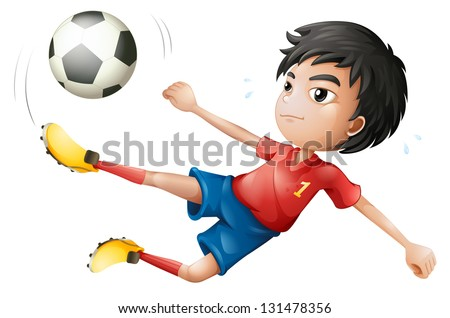 Illustration of a soccer player on a white background - stock photo