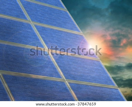 Illustration of a solar panel array at sunset - stock photo