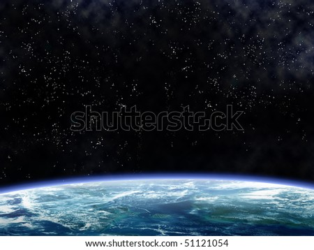 Illustration of a space scene looking down on the earth - stock photo