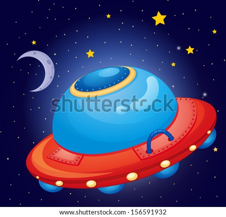 Illustration of a spaceship at the space - stock photo