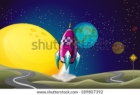 Illustration of a spaceship in the outerspace near the moon - stock photo
