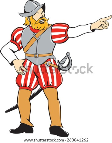 Illustration of a spanish conquistador pointing looking to side on isolated white background done in cartoon style. - stock photo
