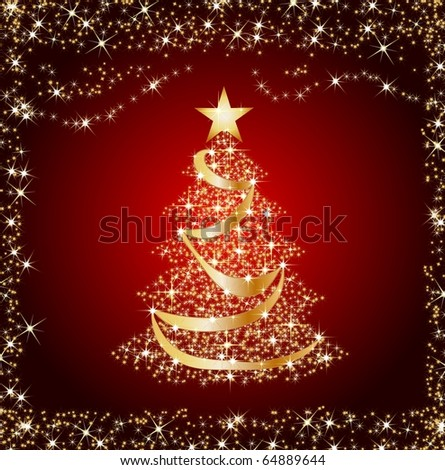 illustration of a sparkling golden christmas tree