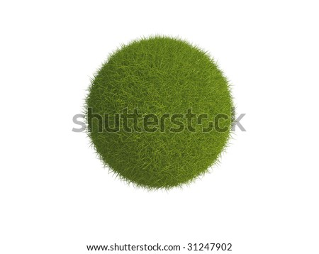 Illustration of a sphere or globe covered in grass, isolated on a white background. - stock photo