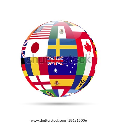 Illustration of a sphere with flags isolated on a white background. - stock photo